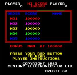 High Score Screen for Heart Attack.