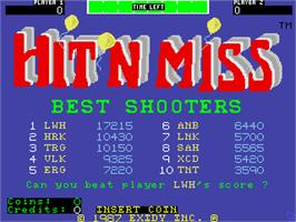 High Score Screen for Hit 'n Miss.