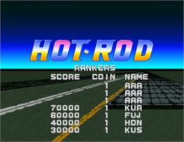 High Score Screen for Hot Rod.