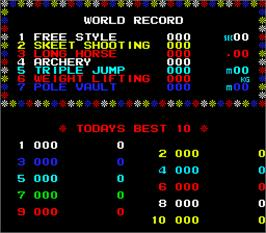 High Score Screen for Hyper Olympic '84.