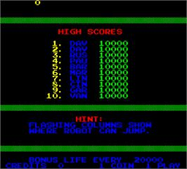 High Score Screen for I, Robot.