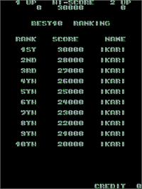 High Score Screen for Ikari Warriors.