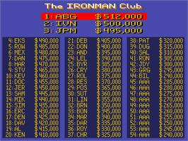 High Score Screen for Ironman Ivan Stewart's Super Off-Road.