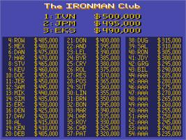 High Score Screen for Ironman Ivan Stewart's Super Off-Road Track-Pak.