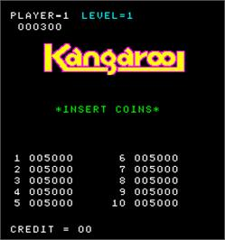 High Score Screen for Kangaroo.