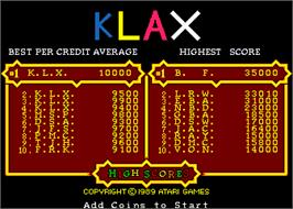 High Score Screen for Klax.