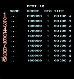 High Score Screen for Kuhga - Operation Code 'Vapor Trail'.
