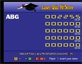 High Score Screen for Laser Quiz Italy.