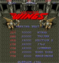 High Score Screen for Legendary Wings.