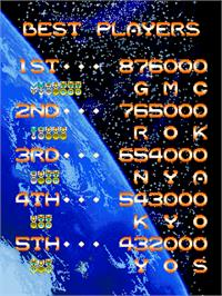 High Score Screen for Lethal Thunder.