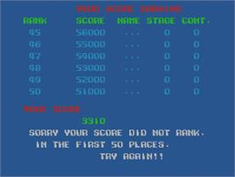 High Score Screen for Lock-On.