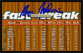 High Score Screen for Magic Johnson's Fast Break.