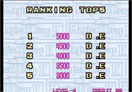 High Score Screen for Magical Drop II.