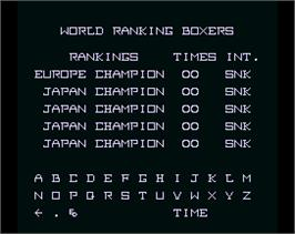 High Score Screen for Main Event.