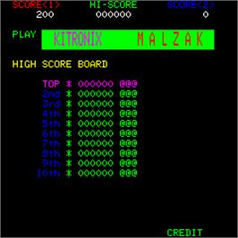 High Score Screen for Malzak II.