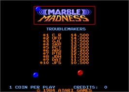 High Score Screen for Marble Madness.