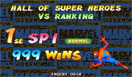 High Score Screen for Marvel Super Heroes.