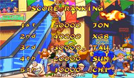 High Score Screen for Marvel Super Heroes Vs. Street Fighter.