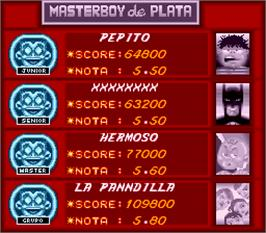 High Score Screen for Master Boy.