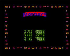 High Score Screen for Mayday.