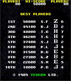 High Score Screen for Mega Force.