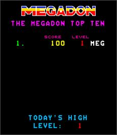 High Score Screen for Megadon.