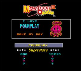 High Score Screen for Megatouch III Tournament Edition.