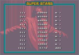 High Score Screen for Michael Jackson's Moonwalker.