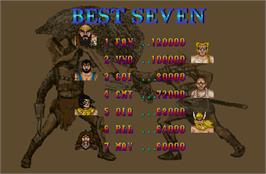 High Score Screen for Mighty Warriors.