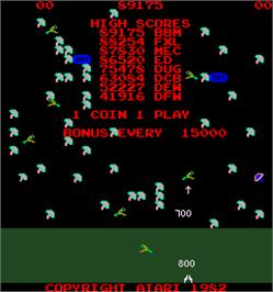 High Score Screen for Millipede.