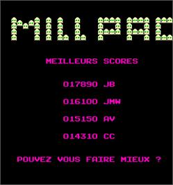 High Score Screen for Millpac.