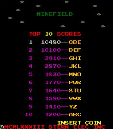 High Score Screen for Minefield.