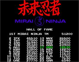 High Score Screen for Mirai Ninja.