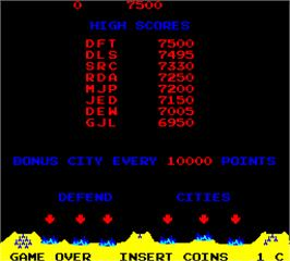 High Score Screen for Missile Command.