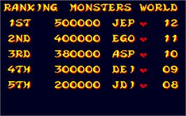 High Score Screen for Monsters World.