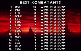 High Score Screen for Mortal Kombat 4.