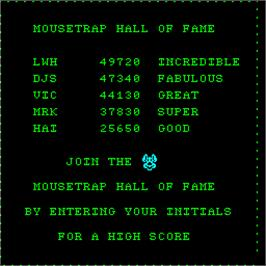 High Score Screen for Mouse Trap.
