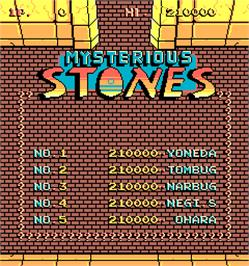 High Score Screen for Mysterious Stones - Dr. Kick in Adventure.