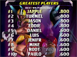 High Score Screen for NFL Blitz '99.