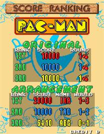 High Score Screen for Namco Classic Collection Vol.2.