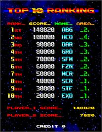 High Score Screen for Nebulas Ray.
