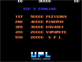 High Score Screen for Ninja-Kid II / NinjaKun Ashura no Shou.