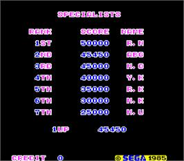 High Score Screen for Ninja.