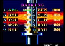 High Score Screen for Ninja Commando.