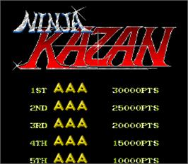 High Score Screen for Ninja Kazan.