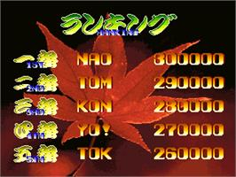High Score Screen for Oedo Fight.