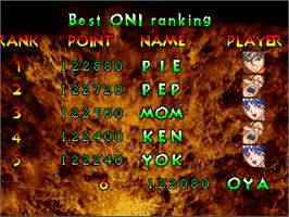 High Score Screen for Oni - The Ninja Master.