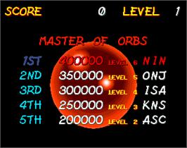 High Score Screen for Orbs.