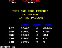 High Score Screen for Pac-Land.