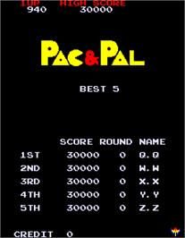 High Score Screen for Pac & Pal.